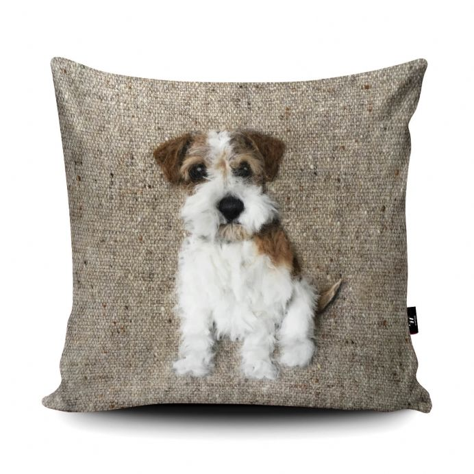 Rough Haired Jack Russell Dog Print vegan faux suede cushion with a Fibre Inner by Sharon Salt